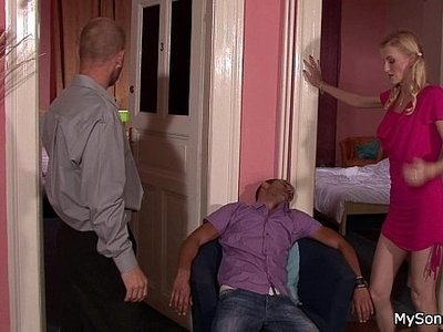blonde  caught  cheating  old man  older