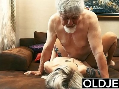 blonde  cock  fuck  grandpa  licking  old and young
