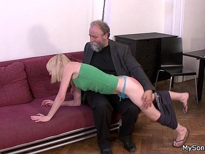 old and young  old man  older  oral  woman